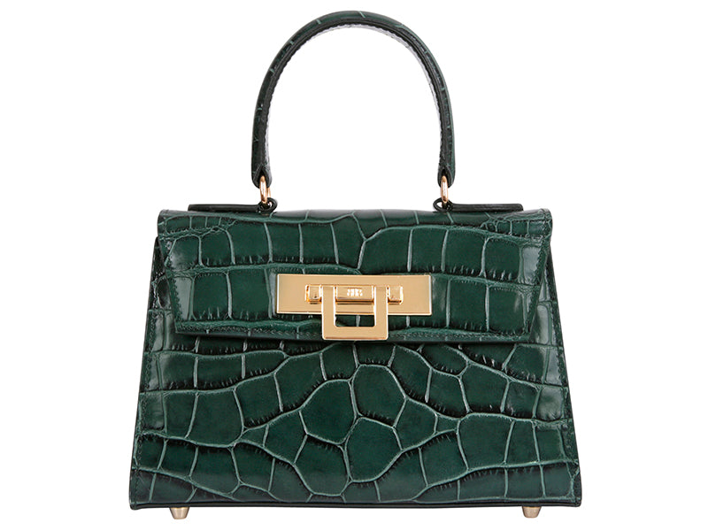 Fonteyn Mignon 'Croc Print' Leather Handbag - Dark Green