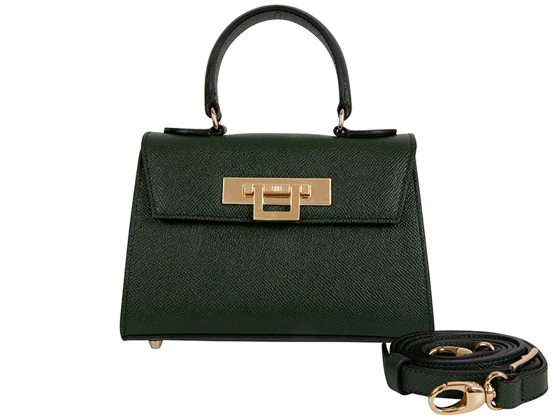 Fonteyn Mignon - Palmellato Leather Handbag - Dark Green