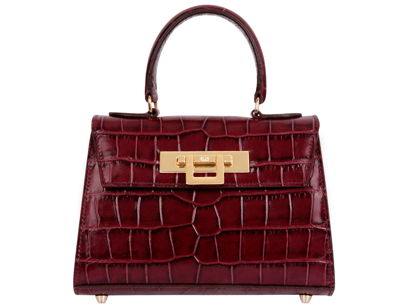 Fonteyn Mignon 'Croc Print' Leather Handbag - Wine
