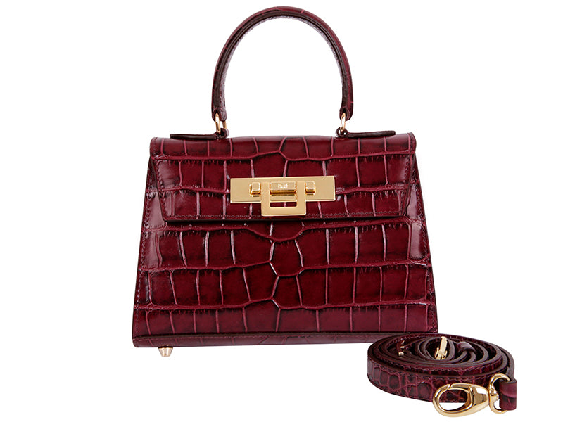 Fonteyn Mignon 'Croc' Print Leather Handbag - Wine
