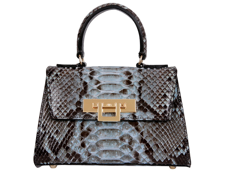 Fonteyn Mignon Python Leather Handbag - Celadon