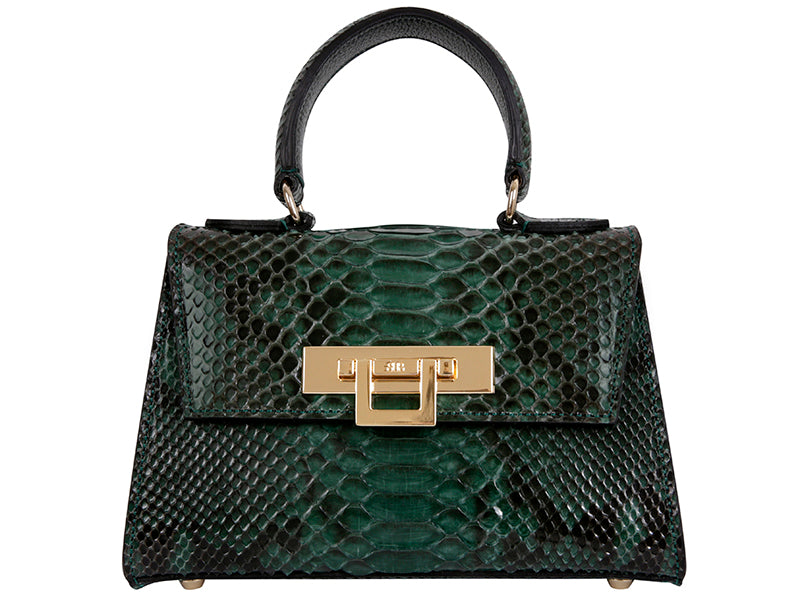 Fonteyn Mignon Python Leather Handbag - Dark Green