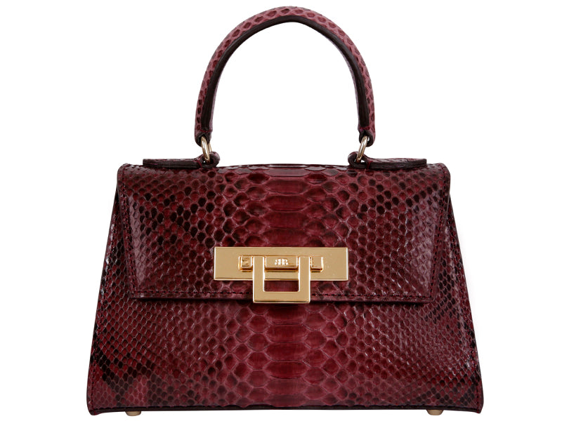 Fonteyn Mignon Python Leather Handbag - Wine