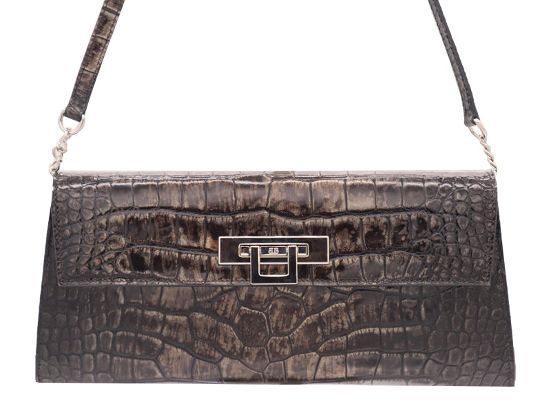 Fonteyn Clutch 'Croc Print' Leather Handbag - Aviator