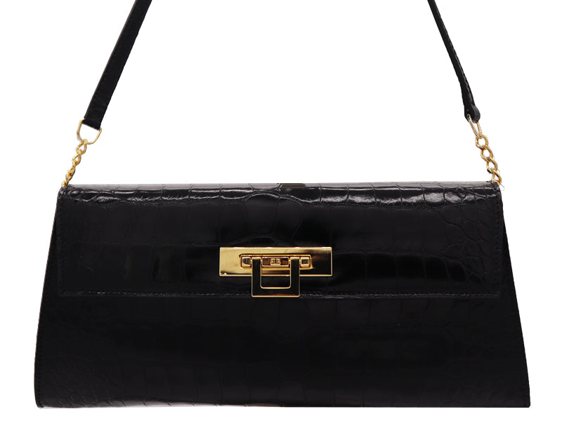 Fonteyn Clutch 'Croc Print' Leather Handbag - Black