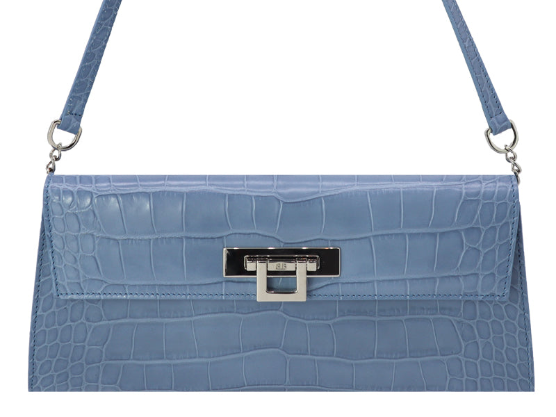 Fonteyn Clutch 'Croc' Print Leather Handbag - Bluebell