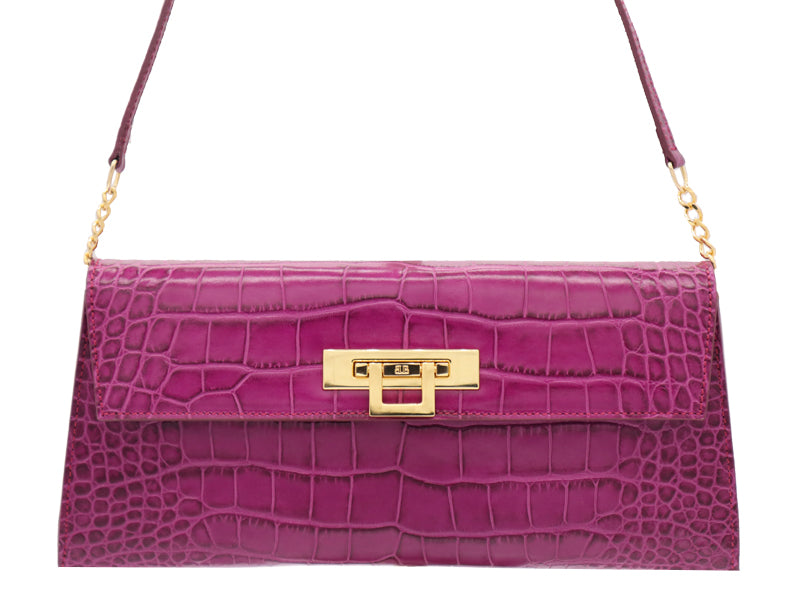 Fonteyn Clutch 'Croc Print' Leather Handbag - Cyclamen