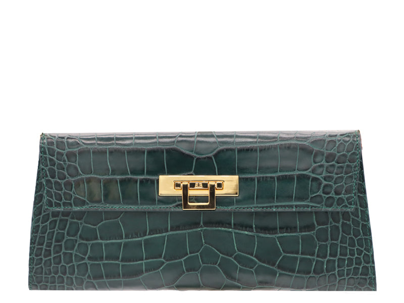Fonteyn Clutch 'Croc Print' Leather Handbag - Green