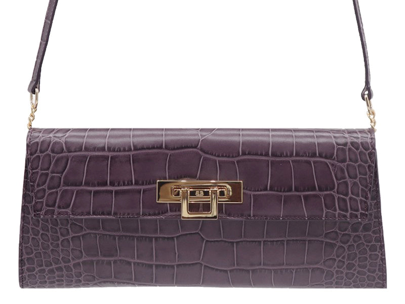 Fonteyn Clutch 'Croc' Print Leather Handbag - Plum