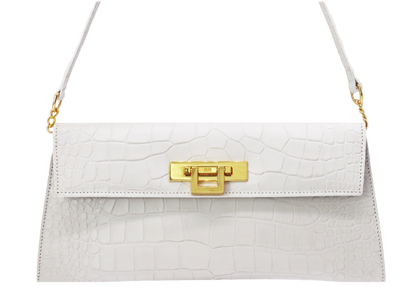 Fonteyn Clutch 'Croc' Print Leather Handbag - White