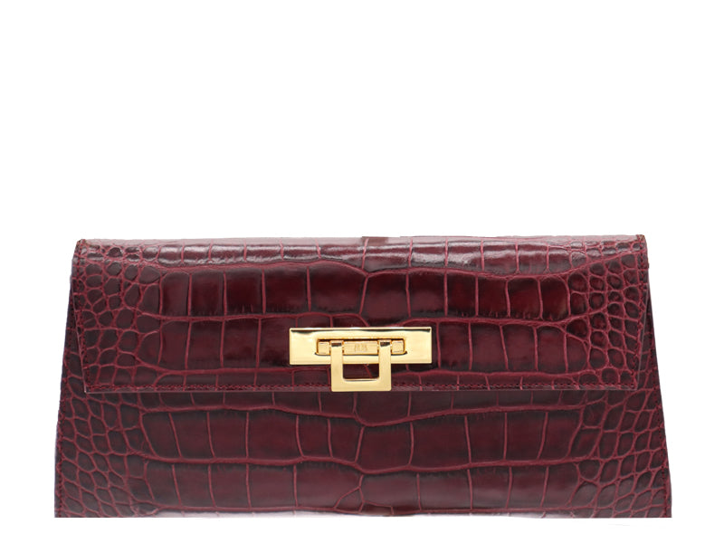 Fonteyn Clutch 'Croc' Print Leather Handbag - Wine