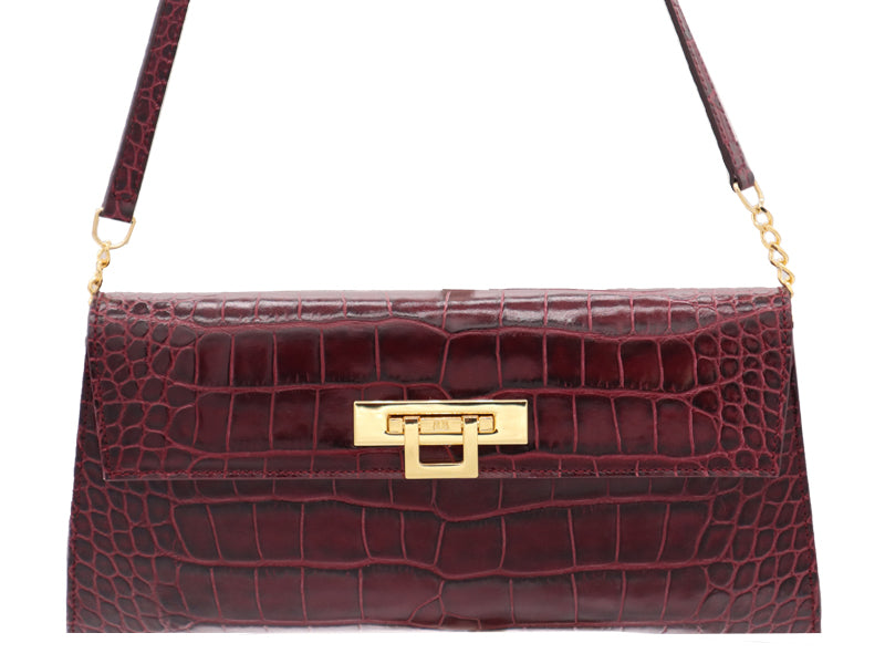 Fonteyn Clutch 'Croc Print' Leather Handbag - Wine