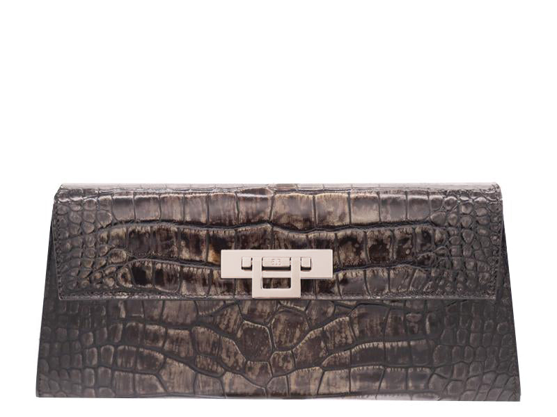 Fonteyn Clutch 'Croc' Print Leather Handbag - Aviator