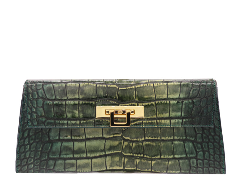 Fonteyn Clutch 'Croc Print' Leather Handbag - Metallic Green