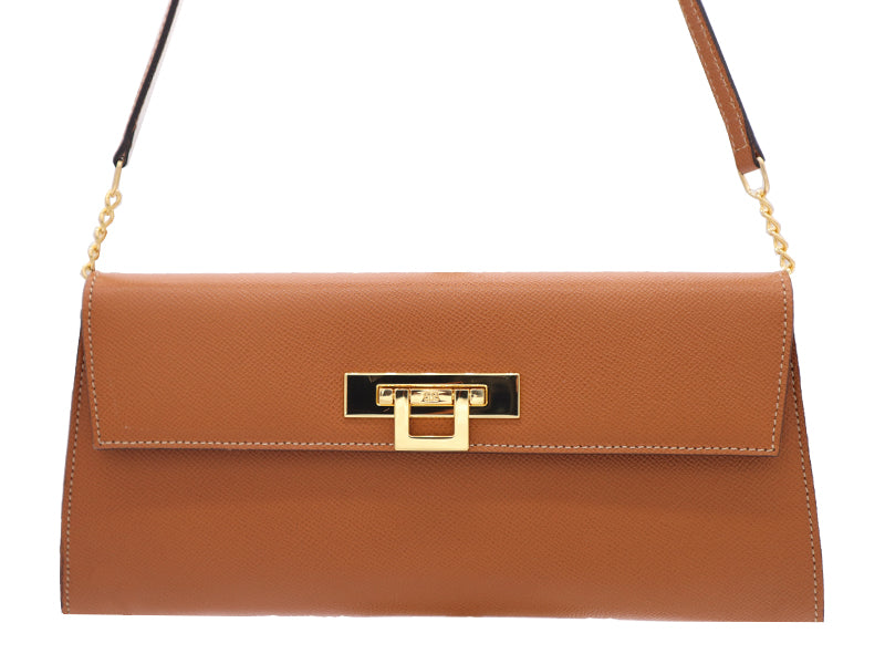 Fonteyn Clutch Palmellato Leather Handbag - Tan