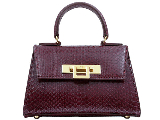 Fonteyn Mignon - Snakeskin Leather Handbag - Plum
