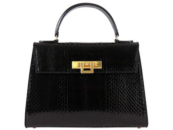Fonteyn Large Snake Leather Handbag - Black