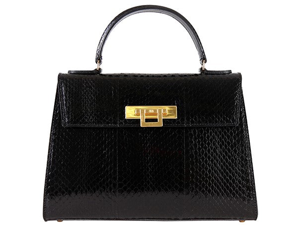 Fonteyn Large Snakeskin Leather Handbag - Black