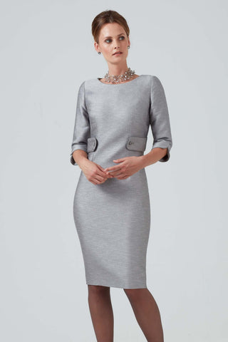 Dress in Latte Raw Silk with neckline detail - Eve