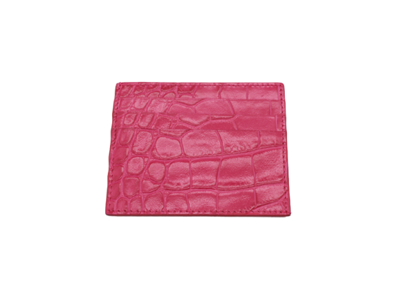 Card Holder 'Croc' Print Leather - Fuchsia