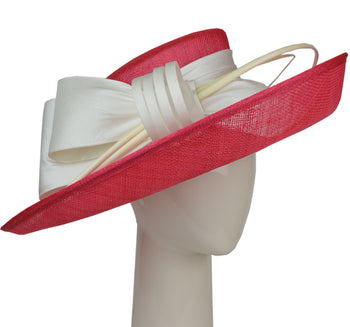 Up Brim Hat with Silk Bow -Fuchsia & Ivory