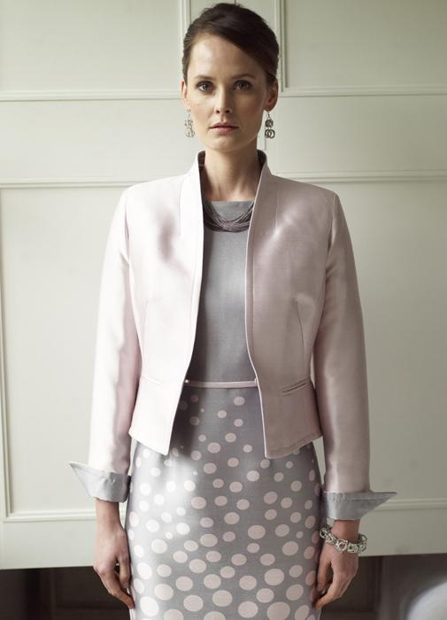 Graduated Pink Dots on Grey Silk Sateen - Angie