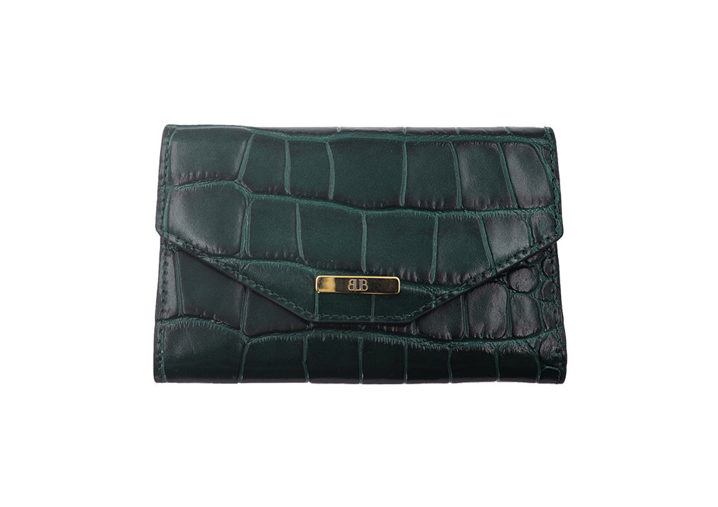 Wallet 'Croc Print' Leather - Green