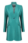 Emerald Plain Brocade Long Jacket - Mia