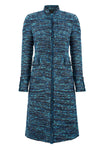 Black/Turquoise Check Tweed Coat - Claire