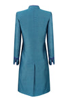 Jade Blue Plain Brocade Coat - Vicky