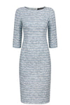 Longer length silk/wool dress with sleeves in aqua and royal Matelassé - Em