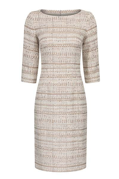Gold/Beige Stripe Tweed Dress - Angela