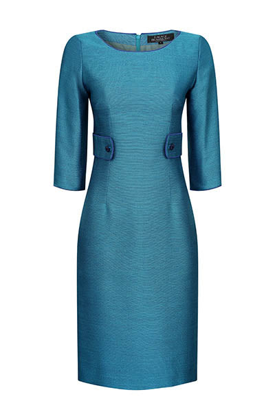 Jade Blue Plain Brocade Dress - Freya