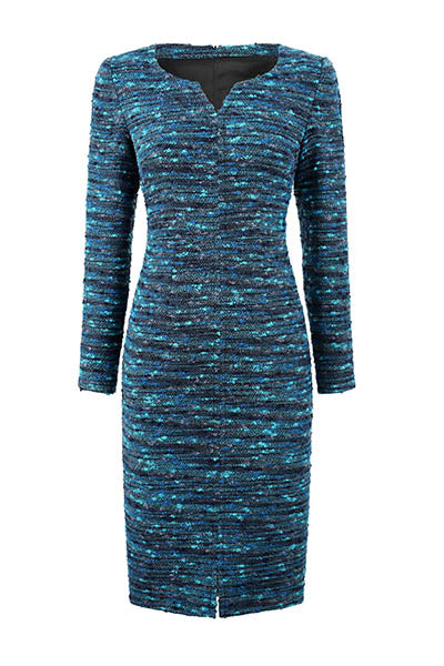 Black/Turquoise Stripe Tweed Dress - Evette