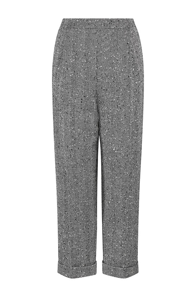 Black and White Herringbone Trousers - Peta