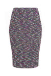 Navy and silver 'ladder' tweed dress  - Angela