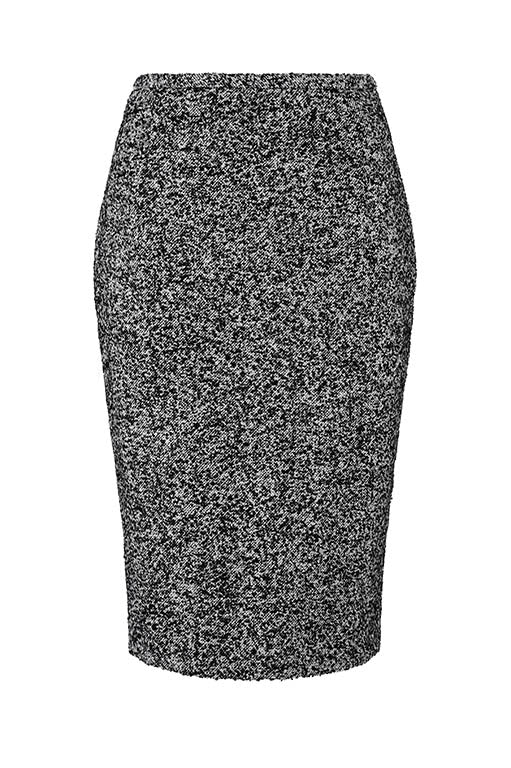 Black and White Semi Plain Skirt - Penny