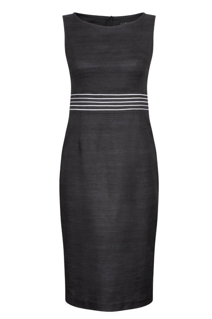 Shift Dress in Black with Ivory waist detail - Audrey