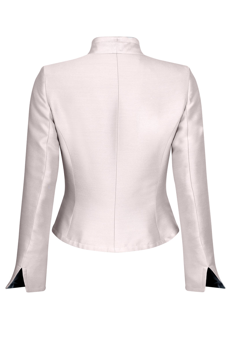 Jacket with Waist Fastening in Pale Pink Satin - Margo