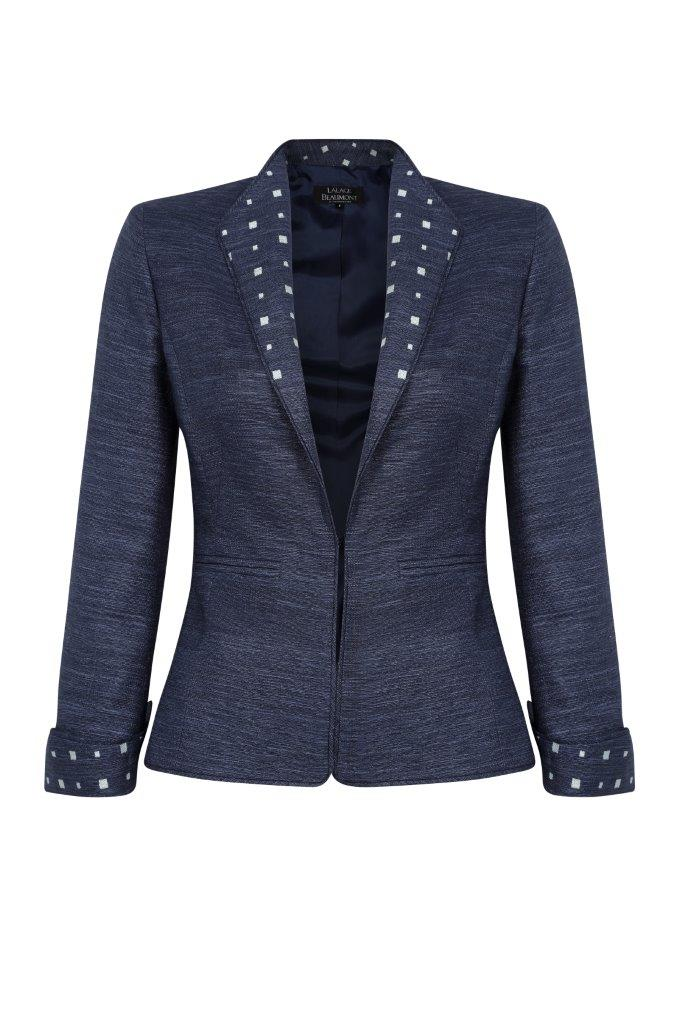 Navy Raw Silk jacket with Embroidery - Daphne