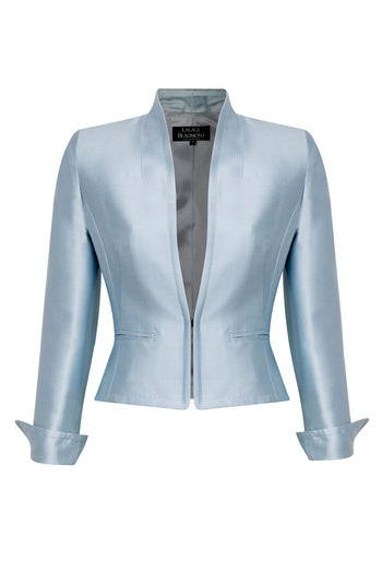 Jacket with Waist Fastening in Sky Satin - Margo