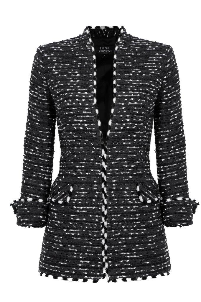 Black and White Stripe Tweed  jacket  - Evelyn