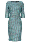 Turquoise tweed mother of the bride outfit dress