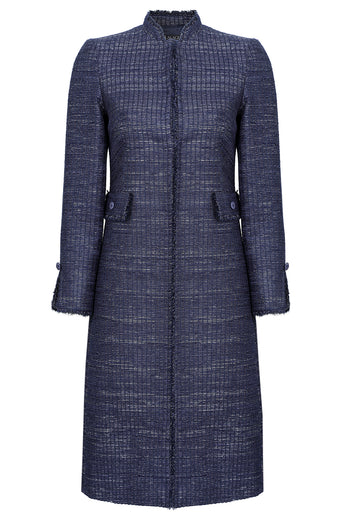 Navy and silver 'ladder' tweed coat with fringed edges  - Claire