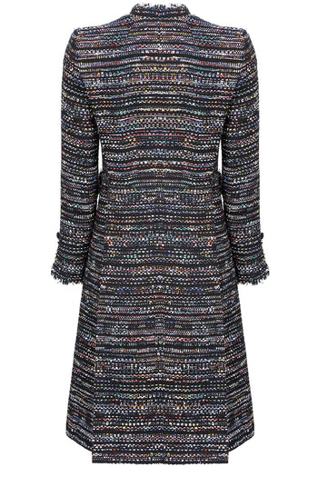 Black and multi - coloured tweed 'Chanelesque' coat with fringed edges  - Claire