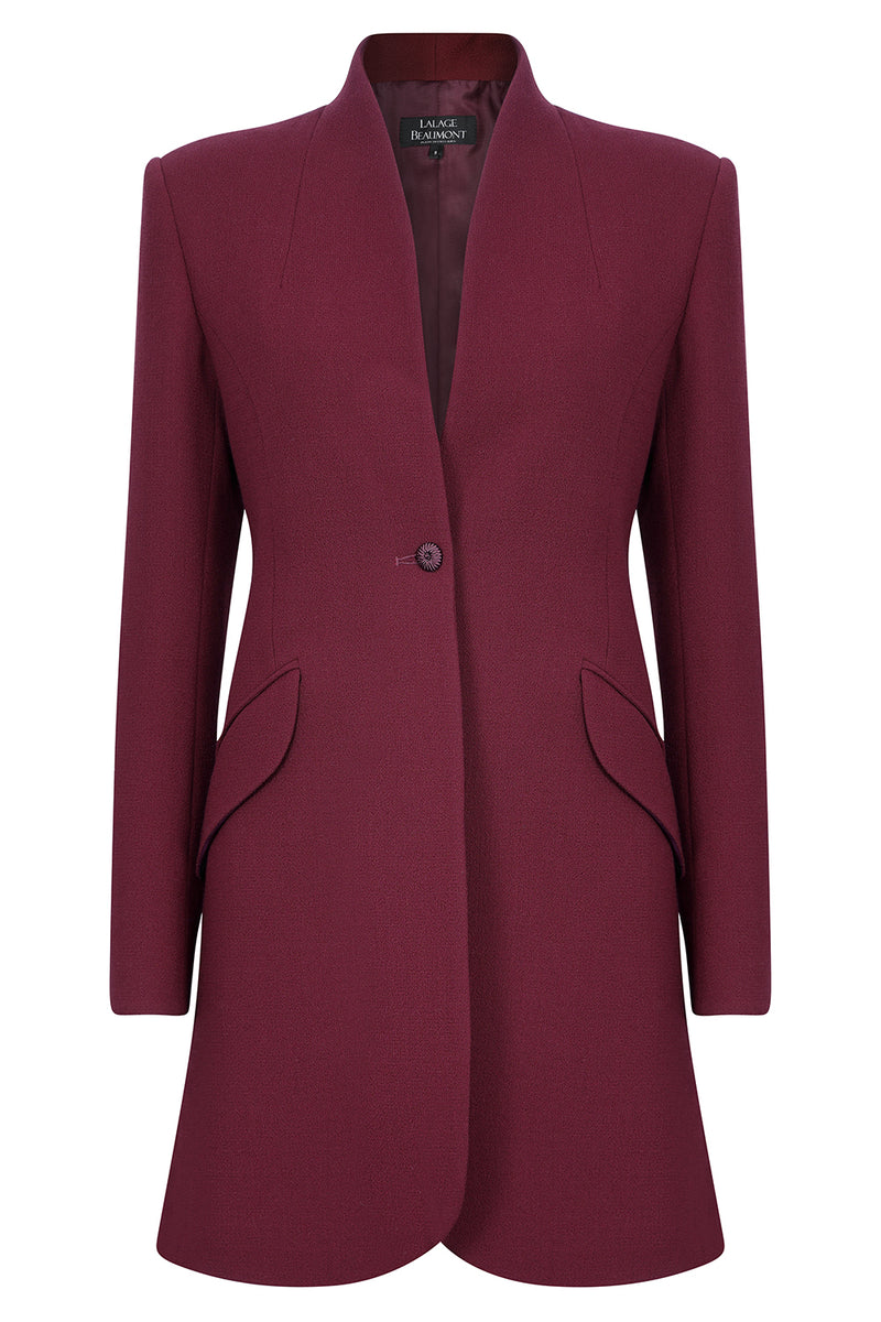 Designer business wear jacket in burgundy for women