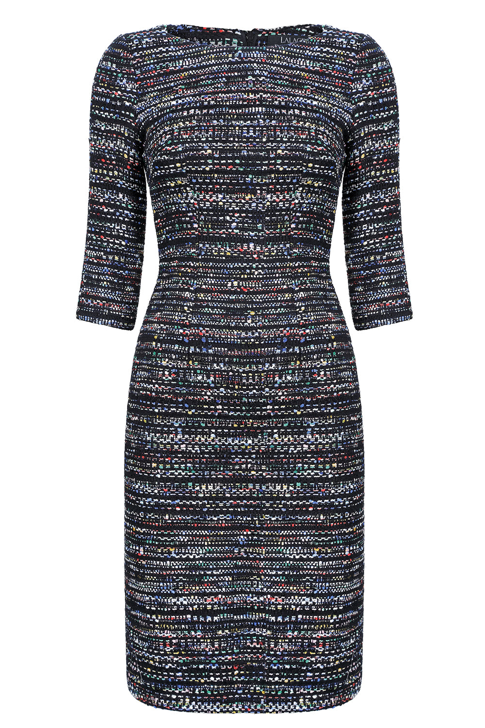 6472cf843e7 Black and multi-coloured tweed mother of the bride dress with 3 4 sleeves.  womens designer tweed business dress. womens designer tweed business dress