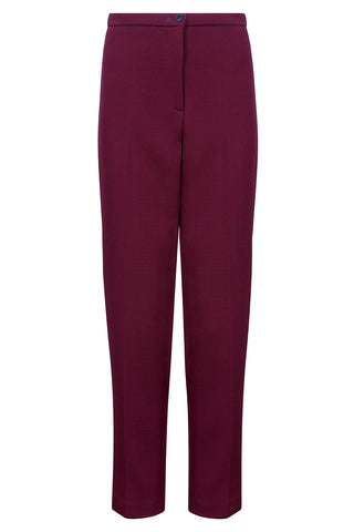 Burgundy wool double crepe pencil skirt - Penny