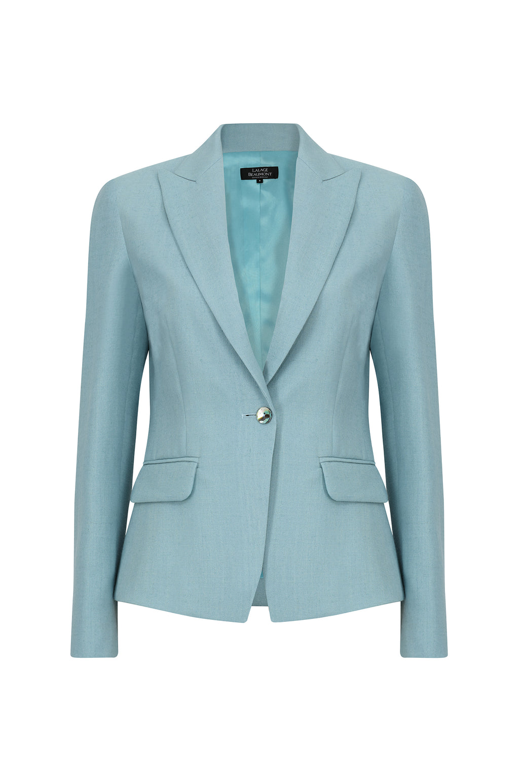 Blazer jacket in sea-green linen mix - Inez