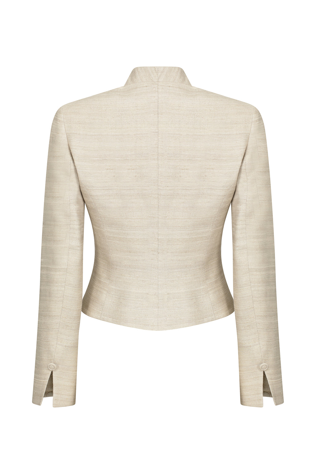Shaped Jacket in Plain Raw Silk with Waist Fastening - Marina